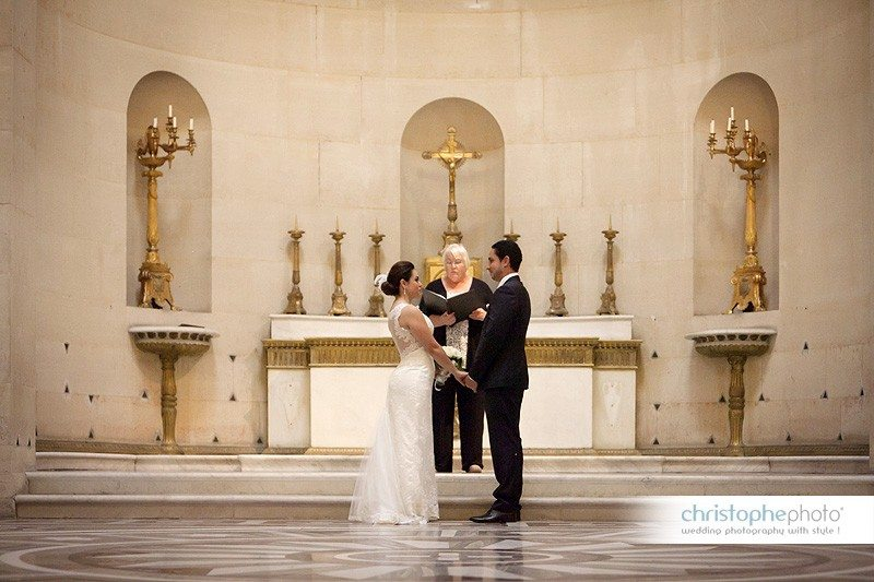 wedding ceremony in chapelle expiatoire conducted by a symbolic celebrant.