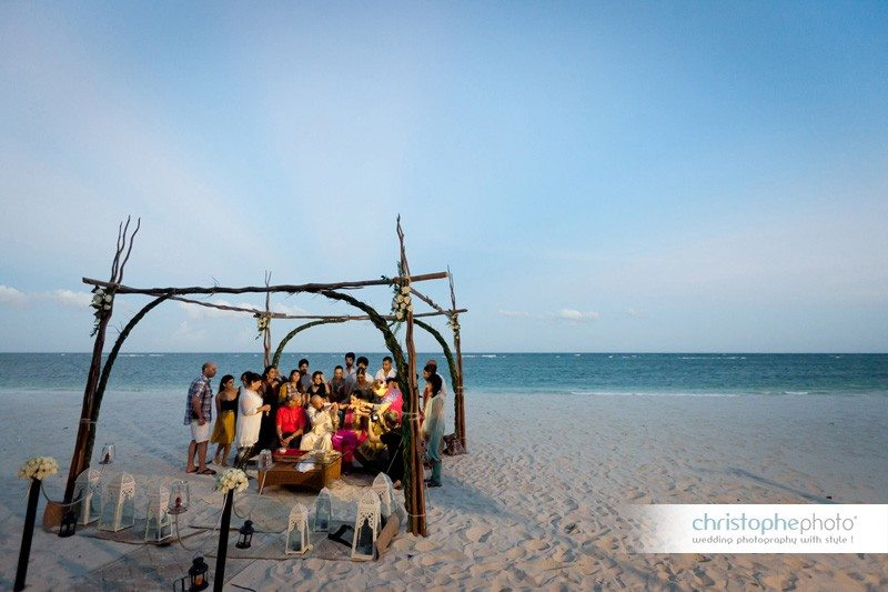 The Chunni ceremony on the white sand beach of the Leisure Lodge Resort, Kenya.