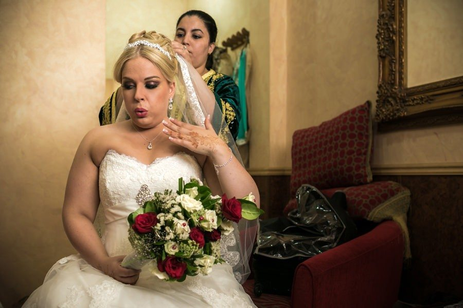 Bride getting ready in Casablanca