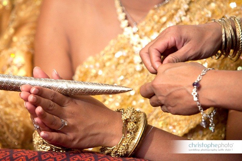 Close-up of a wedding rituals during the cambodian khmer ceremony.