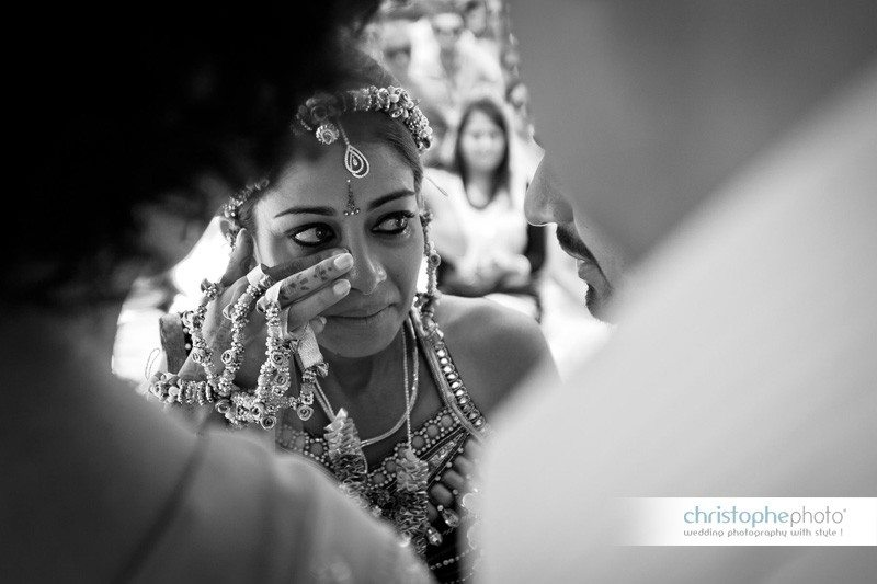 The bride getting emotional during one of the function.