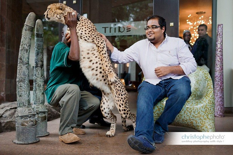 The special guest: A cheetah taking the pose in front of the beautiful Tribe Hotel Nairobi. Documented by Wedding Photographer Kenya.