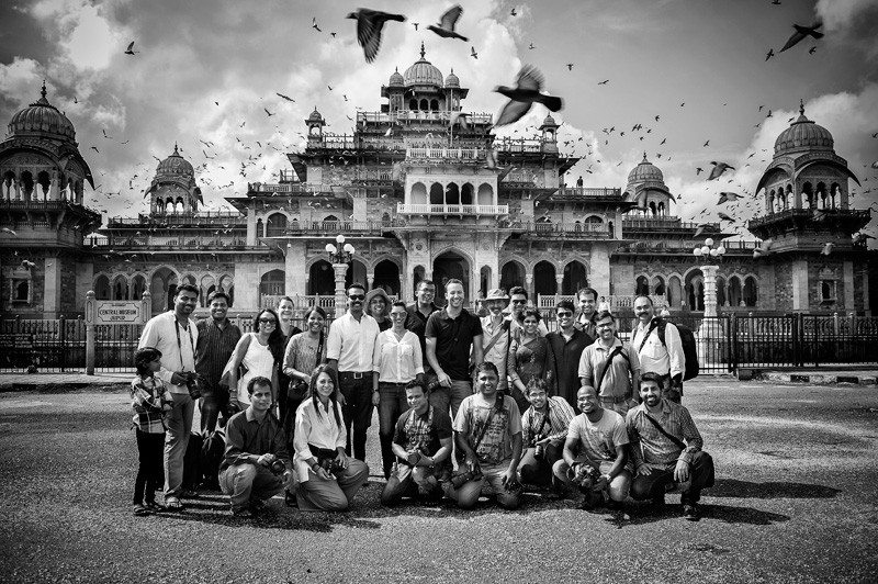 Group of participants to the wedding photography workshop in Jaipur, India.