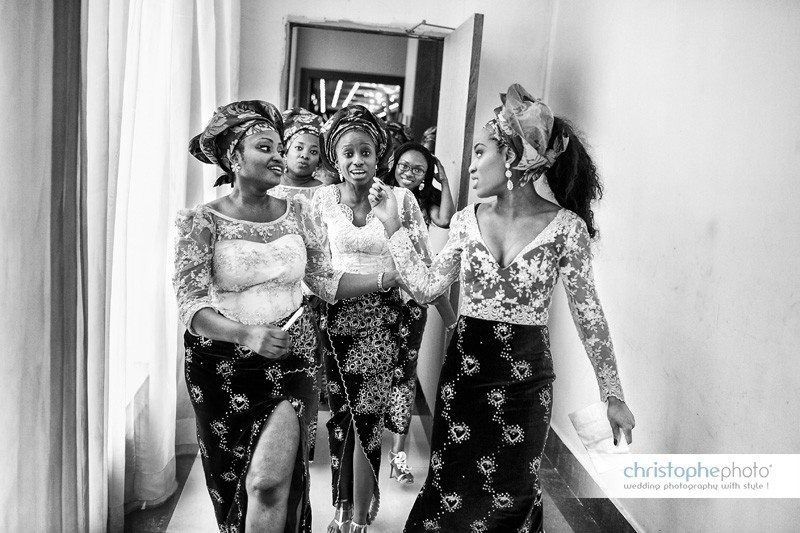 Bridesmaids going back to the wedding Ballroom at Oriental Hotel Lagos